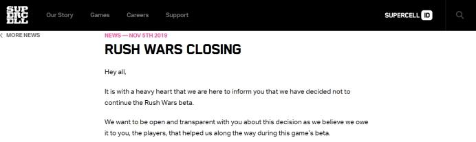 玩着玩着就没了?Supercell关闭测试了三个月的新作《Rush Wars》